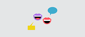 Illustration: two mouths, each with a speech bubble