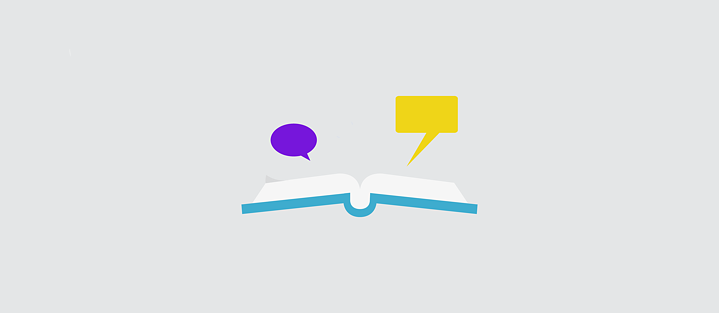 Illustration: two speech bubbles above a book