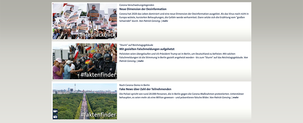 Screenshot der Website des ARD-faktenfinders.